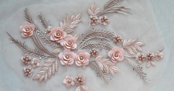 3D Flower Pearls Beaded Embroidery Lace Applique for DIY Bridal Dress Sew Crafts