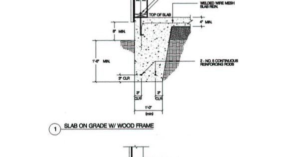 Frame wall monolithic slab building diagrams for Slab on grade foundation cost