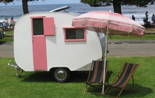 Vintage pink travel trailer