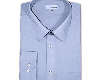 LIGHT BLUE Modena Big and Tall Poplin Dress Shirt