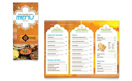 Indian Restaurant Take Out Brochure Template Design Menu Card Design Menu Design Template Restaurant Brochures