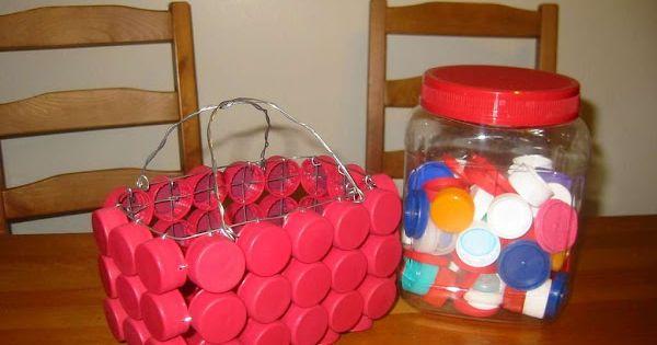 Canastas con tapones de pl stico manualidades con - Manualidades con tapones de plastico ...