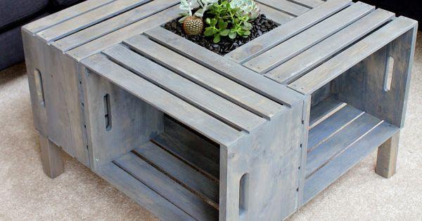 table de salon faite avec des caisses en bois custo d co pinterest caisses en bois tables. Black Bedroom Furniture Sets. Home Design Ideas