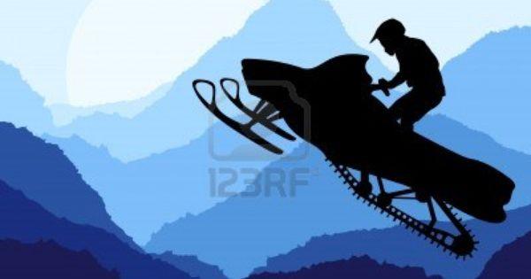 Snowmobile Riders In Wild Nature Landscape Background Illustration In 2020 Landscape Background Snowmobile Wild Nature