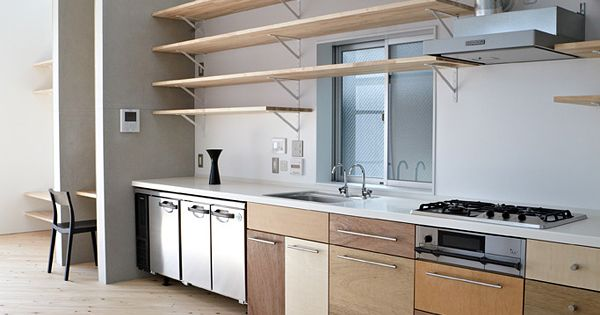 Kitchen einfamilienhaus ookayama torafu architects for Different types of wood for cabinets