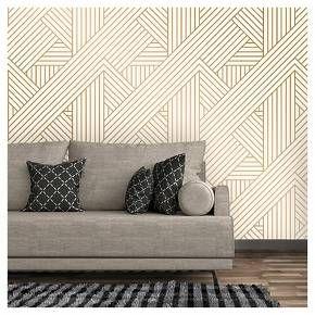Metallic Ribbon Peel Stick Wallpaper Gold Ivory Project 62 Peel And Stick Wallpaper Stick On Wallpaper Accent Wall