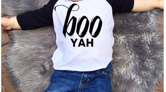 BOO yah halloween costume raglan t shirt tee by ...