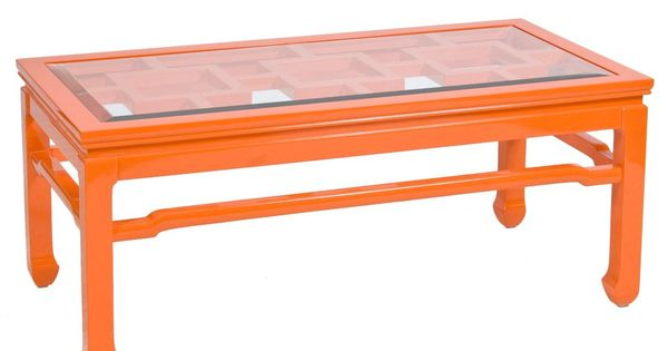 Orange lacquer coffee table with beveled glass top for Orange coffee table