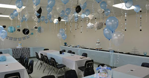 Black, white, and blue baby shower decor | Baby Shower ...