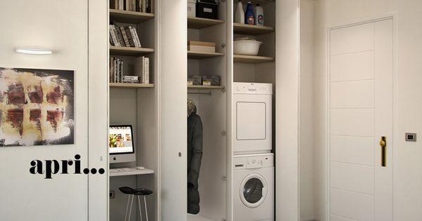 armadio a muro per nascondere lavanderia, ripostiglio, guardaroba ...