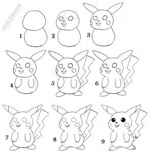 How To Draw Pikachu Step By Step Easy Chalk Drawings Pikachu Drawing Pokemon Drawings