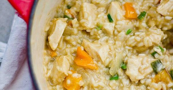 one pot chicken risotto with fresh vegetables- this is SUCH a killer