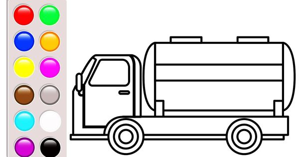 Learn Colors For Baby With Car And Truck Coloring Pages Oil Truck Color Truck Coloring Pages Learning To Draw For Kids Coloring For Kids