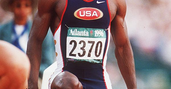 Michael Johnson wins 200m and 400m sprint double at 1996 Olympics Saw