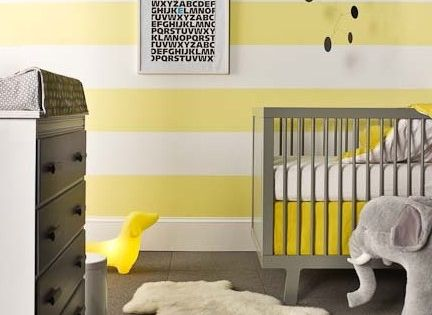 White and yellow striped walls + grey. Jami's baby room