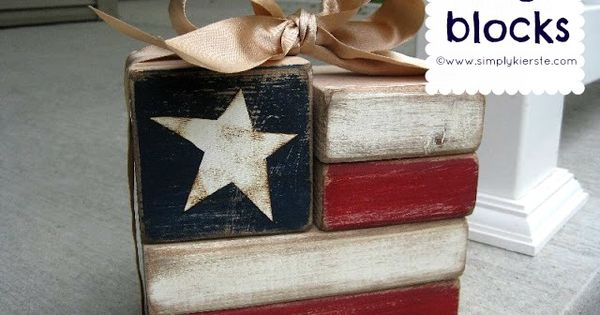 Super cute flag blocks! Made from 2x4 wood, this is an easy