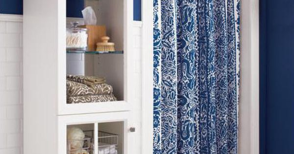 Blue Damask Shower Curtain, bathroom storage