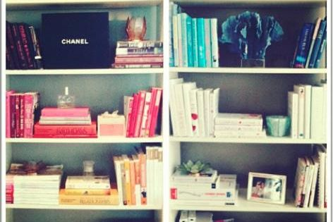 color coded bookshelves organize books laurenconrad