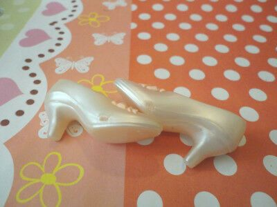 Doll Shoes ~ Franklin Mint 15 Pearl White Heel Shoes 1PAIR//GENE DOLL