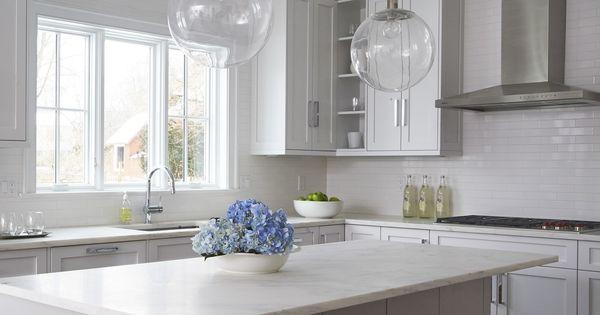 White Kitchen With Grey Island Dexter Road Westport Ct Calla Mcnamara Interiors Www