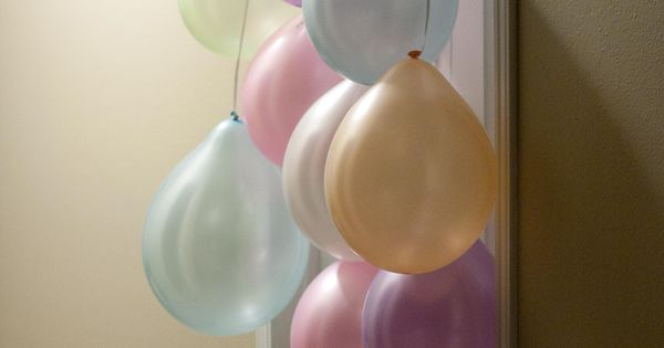 Balloon curtain for my kids to wake up to on their birthdays!