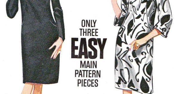 ... Sheath Dress Long or Bell Sleeves Womens Vintage Sewing Pattern Bust