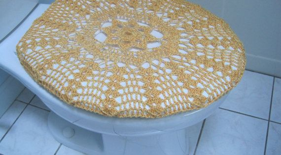 Crochet Toilet Seat Cover Or Crochet Toilet Tank Lid Cover Gold TSC15A Or