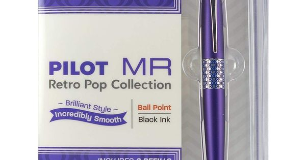 Pilot MR Retro Pop Ballpoint Pen Gift Box 2 Refills Purple Ellipse Accent Medium