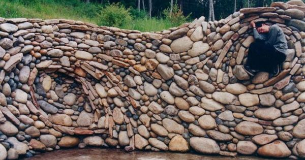 River Rock Wall Garden Walls Hedges And Fences
