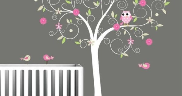 Children Vinyl Wall Decals Nursery Tree Decal with Flowers Birds Owl. $99.00,