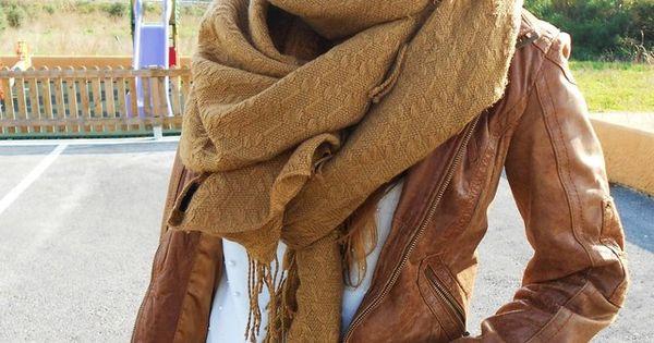 brown Leather Jacket scarf sunglasses white shirt handbag jeans fall women clothing