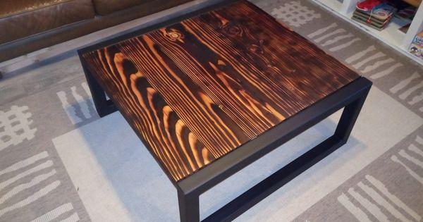 Table Basse Bois Brule 2 Mes Meubles Bois Metal Table Basse Bois Bois Brule Table Basse Bois Metal