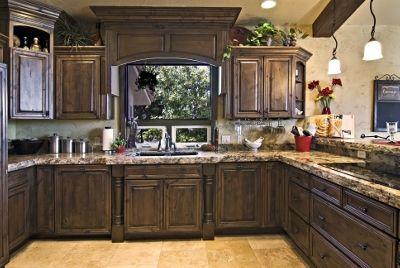 Love The Dark Stained Alder I Would The Have A Antiqued Cream Island So Pretty Alder Kitchen Cabinets Kitchen Remodel Design Dark Wood Kitchens