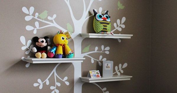 Like the idea of the shelves paired with the wall decal...I think