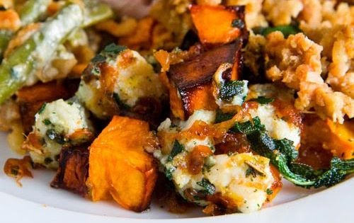Holiday side dish: Roasted Butternut Squash with Caramelized Onions, Gorgonzola and Crispy