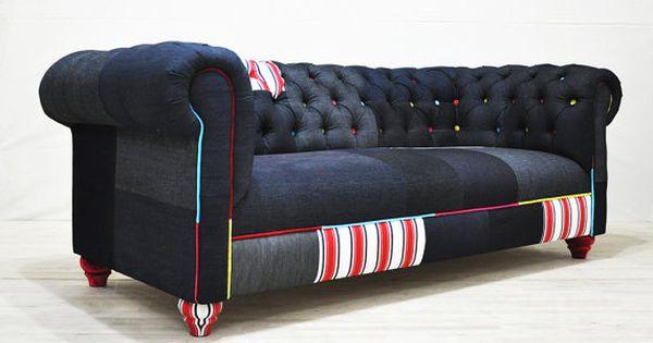 Reserves Au Listing Pour Chinatsu Jean Patch Canape Patchwork De Denim Canape Patchwork Idee Deco Maison Canape