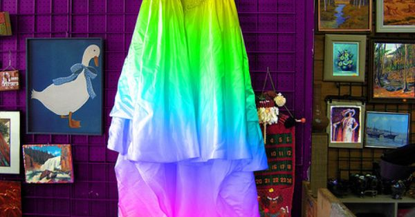 A tie dye wedding dress take off the puff sleeves and i for Tie dye wedding dress