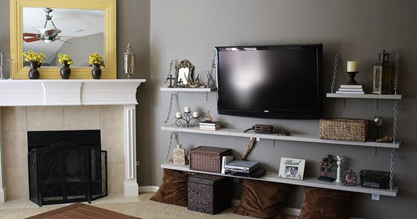 Wall mounted tv with underneath shelves decoracion del for Accesorios decoracion hogar