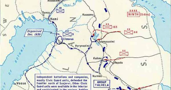 Map of The area of The Winter War U.S.S.R.VS FINLAND ...