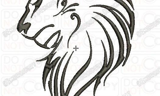 Lion Outline Tribal Embroidery Design In 3x3 4x4 And 5x7