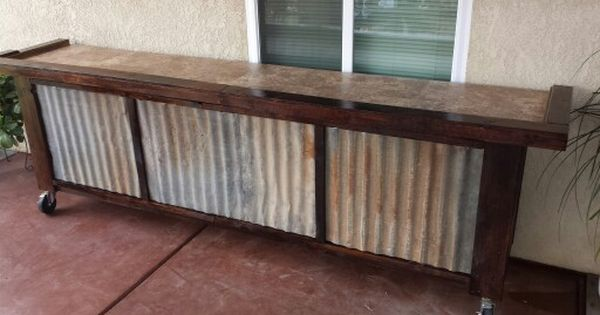 I Built This Bar From Reclaimed 2x4s And Patina Corrugated Metal Siding 10 Feet Long On Rolling And Locking C Rustic Outdoor Bar Corrugated Metal Backyard Bar