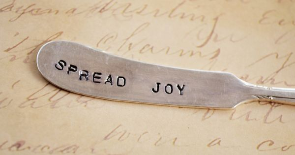 SPREAd Joy: Hand stamped, upcycled, vintage silver knife. CUTE BRIDESMAID GIFT INGE!