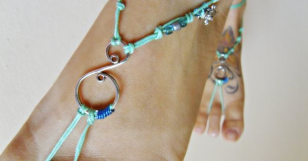 Aqua BAREFOOT sandles barefoot sandal spiral barefoot GYPSY SUMMER sexy anklet jewelry foot thongs bottomless shoes