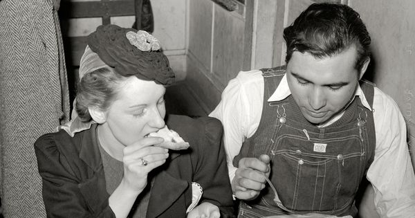 1940  muskogee county  oklahoma  farm boy eating pie which