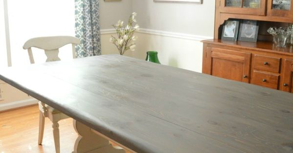 Farmhouse Table was stained in a bo of General Finishes Walnut and Whitewa