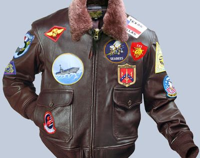 Navy Leather Flight Jacket Patches - JacketIn