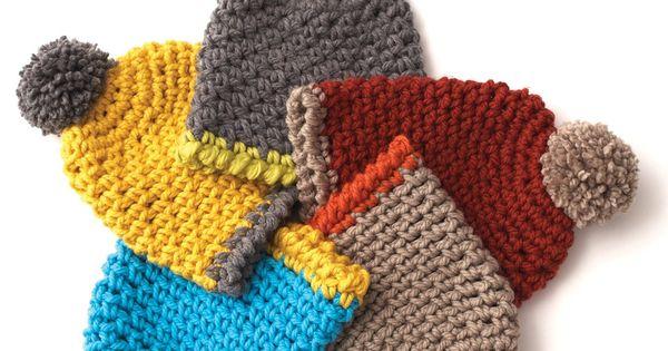 Yarnspirations Free Crochet Patterns : Yarnspirations.com - Bernat Easy Crochet Hat for kids ...