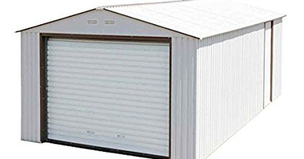 Amazon Com Duramax Imperial Metal Garage 12 X 26 Off White With Brown Patio Lawn Garden Metal Garages Garage Door Design Metal Storage Garage