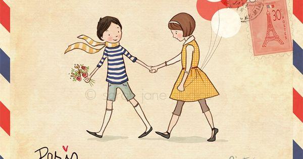 Children's Wall Art Print - Paris - 8x10 - Boy & Girl