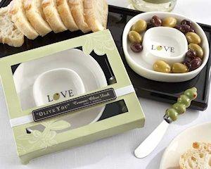 Olive You Ceramic Olive Tray And Spreader Set Olive Dishes Practical Wedding Favors Wedding Gift Favors
